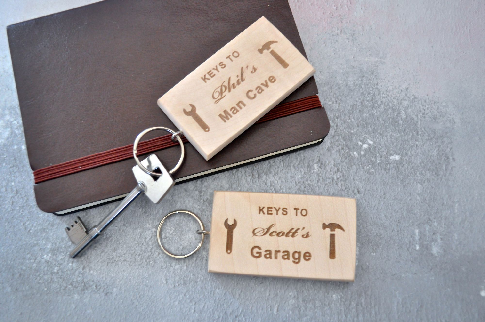 Personalised Wooden Man Cave Keyring Gift