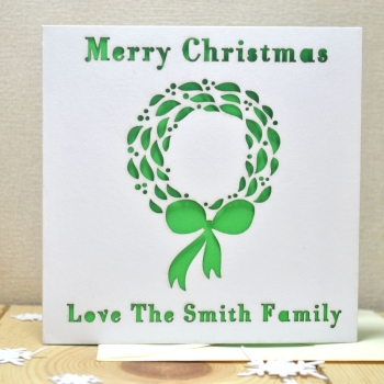 Personalised Laser Cut Christmas Wreath Card
