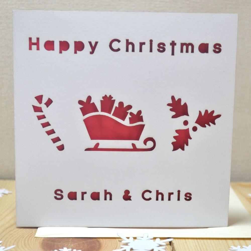 Personalised Laser Cut Christmas Sledge Card