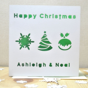 Personalised Laser Cut Christmas Pudding Card