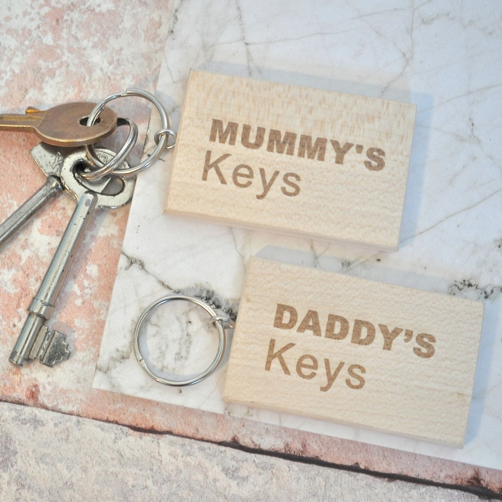 Birthday Christmas Gift Personalised Engraved Wooden Keyring