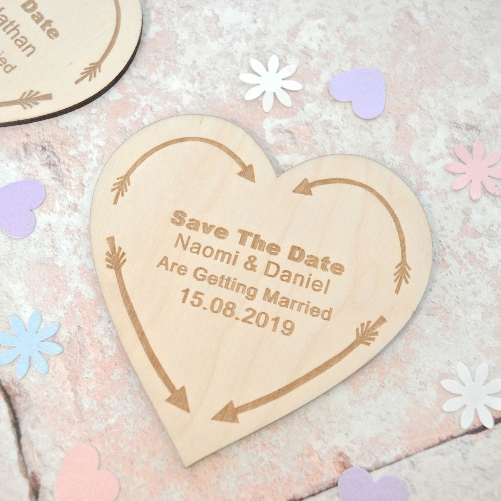 Personalised Save The Date Heart Arrow Magnet