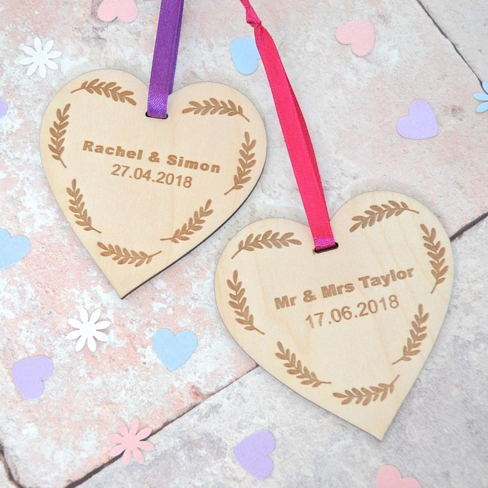 Personalised Wedding Date Wooden Heart