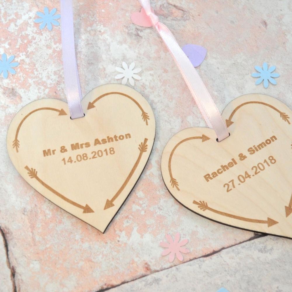 Personalised Wedding Date Keepsake Wooden Heart