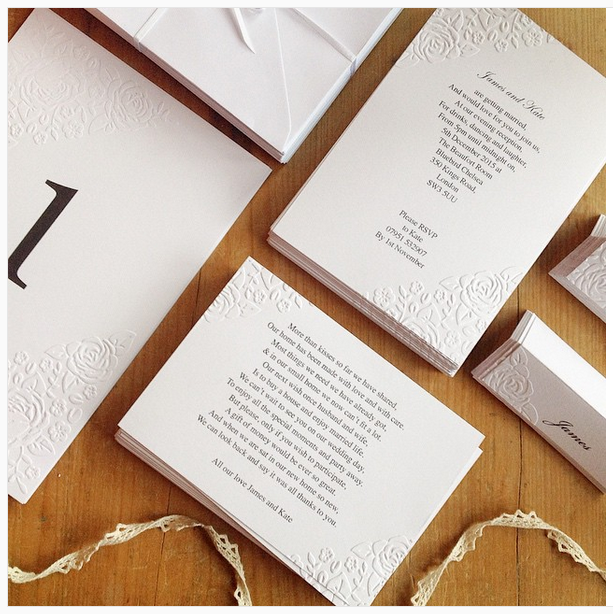 Embossed Wedding Invitation, Table Card, Place Cards