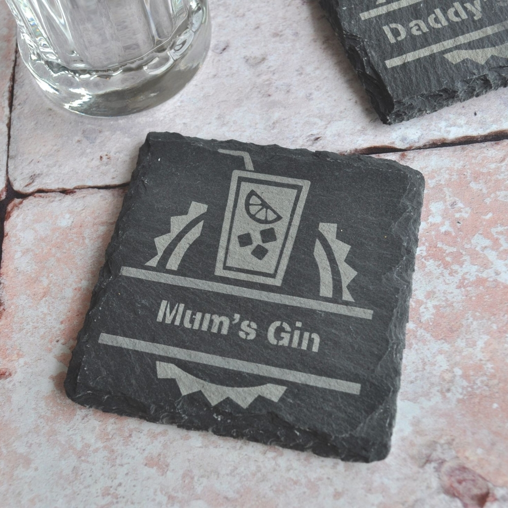 Personalised Gin Slate Coaster