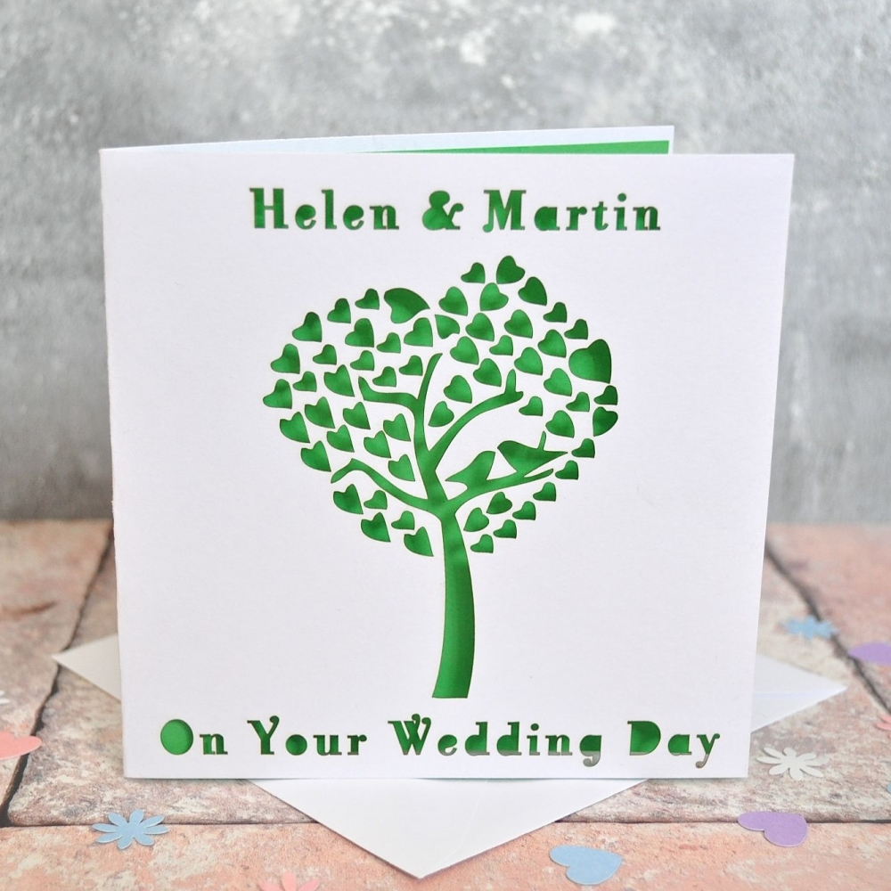Laser Cut Wedding Tree Heart Card
