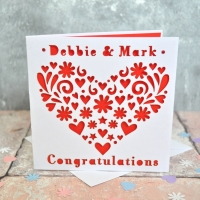 Personalised Laser Cut Heart Card
