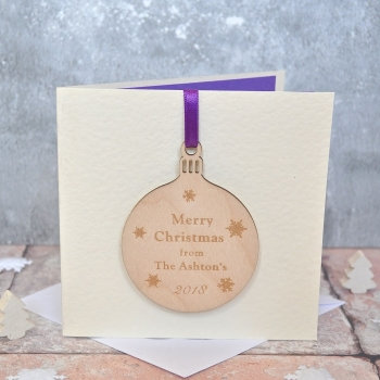 Wooden Bauble Christmas Card