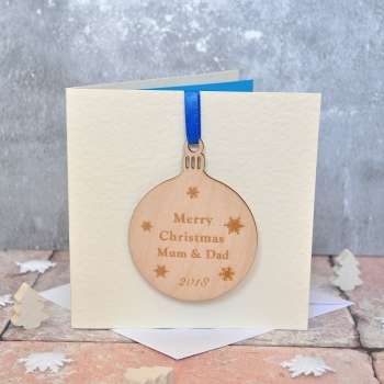 Personalised Wooden Bauble Christmas Card
