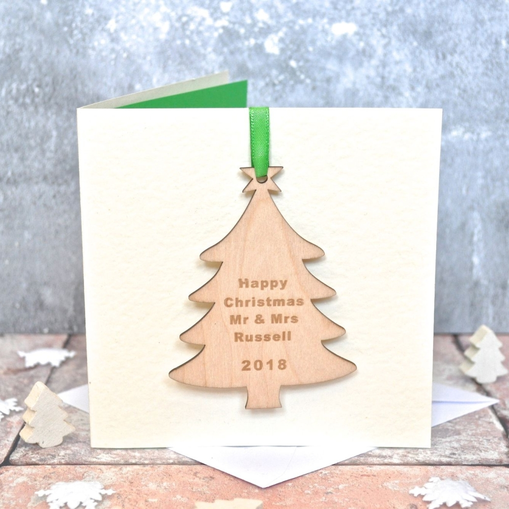 Personalised Wooden Tree Christmas Card