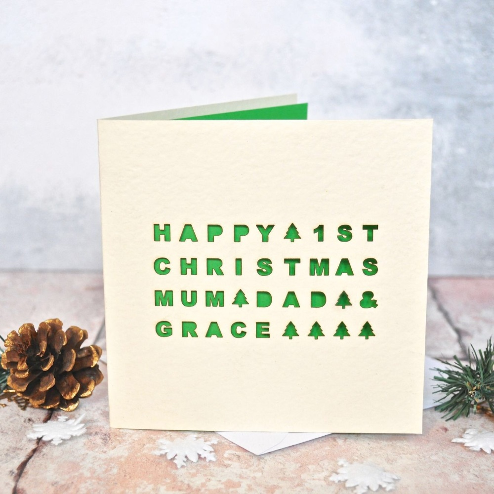 Personalised Laser Cut First Christmas Card