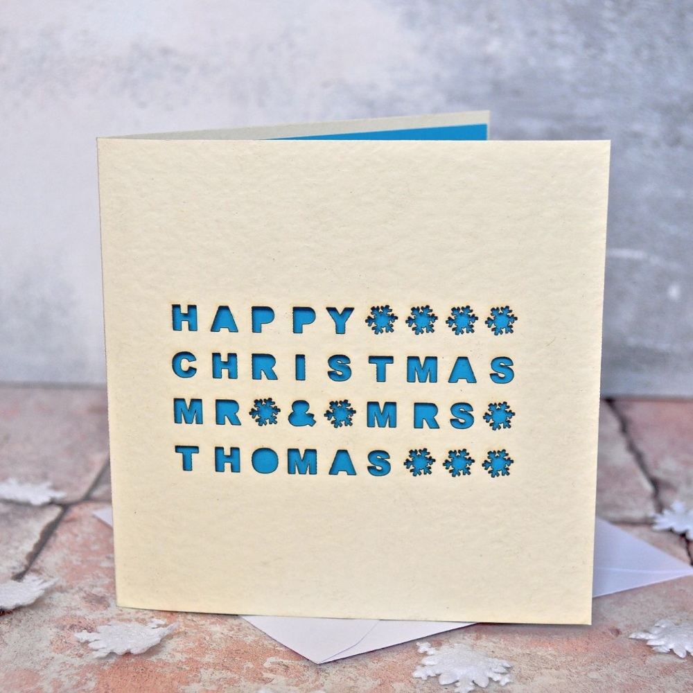 Personalised Laser Cut Couple Christmas Card