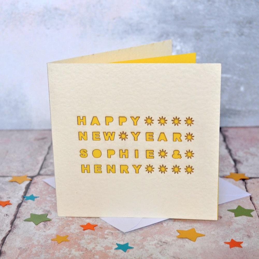 Personalised Hapopy New Year Laser Cut Card