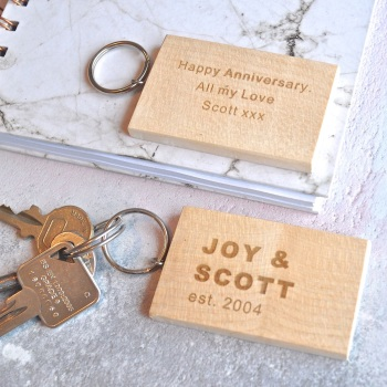 Personalised Wooden Anniversary Keyring