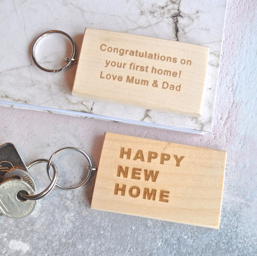 Personalised Wooden New Home Keyring