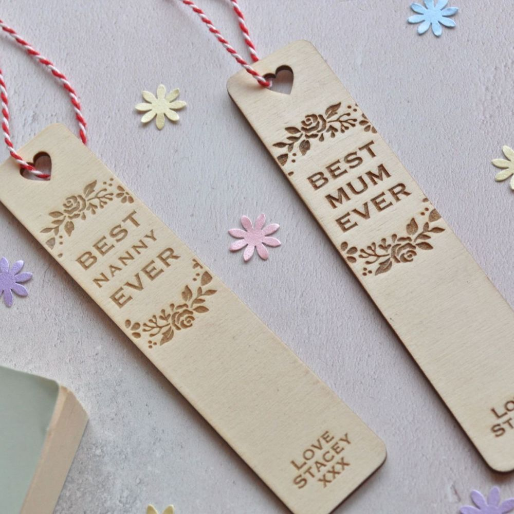 Personalised Floral Best Mum Bookmark