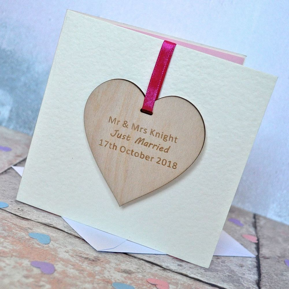 Personalised Wedding Heart Decoration Card