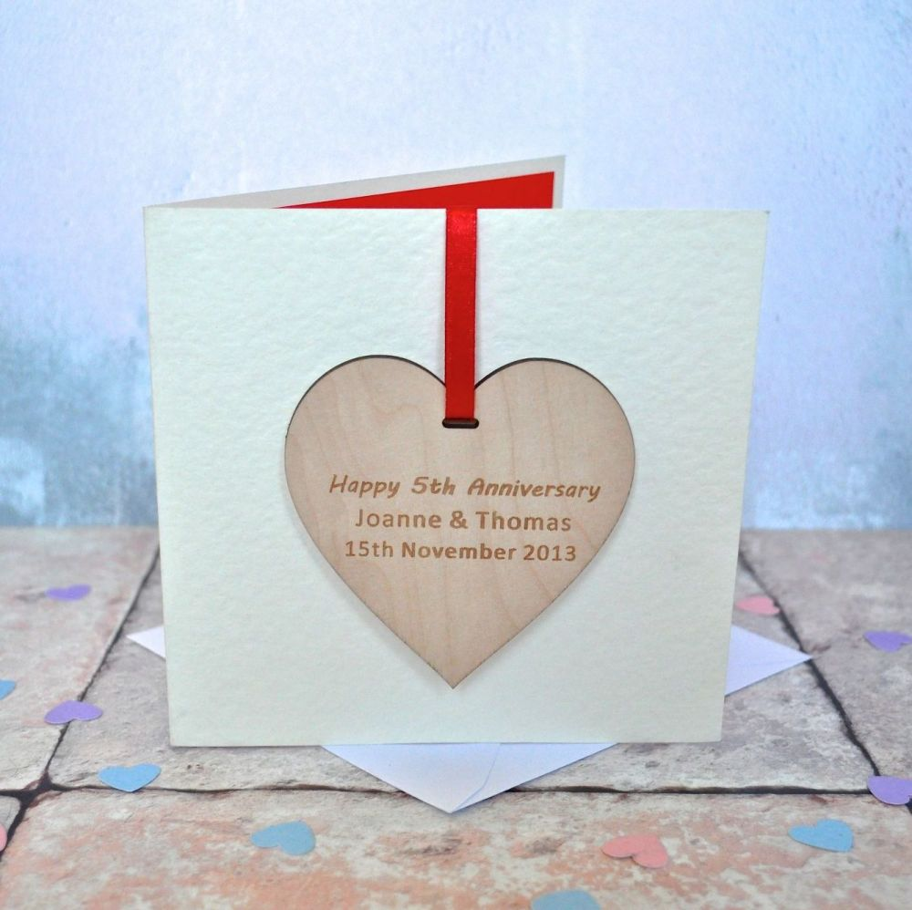 Personalised Anniversary Wooden Decoration Card