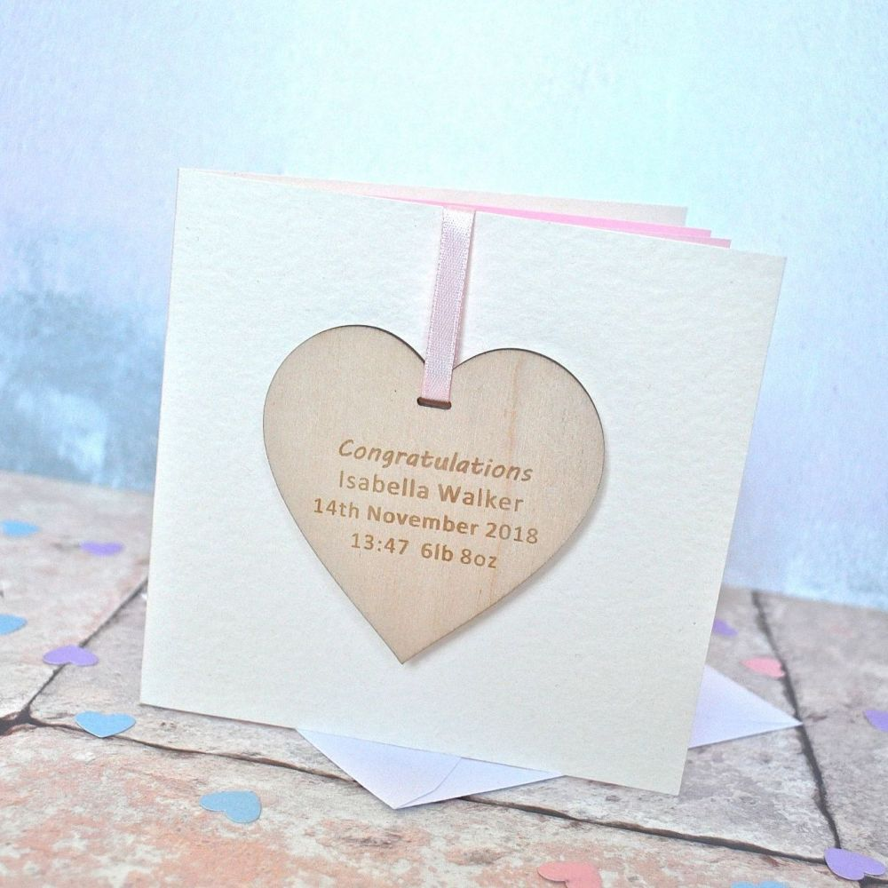 Personalised Baby Wooden Heart Card
