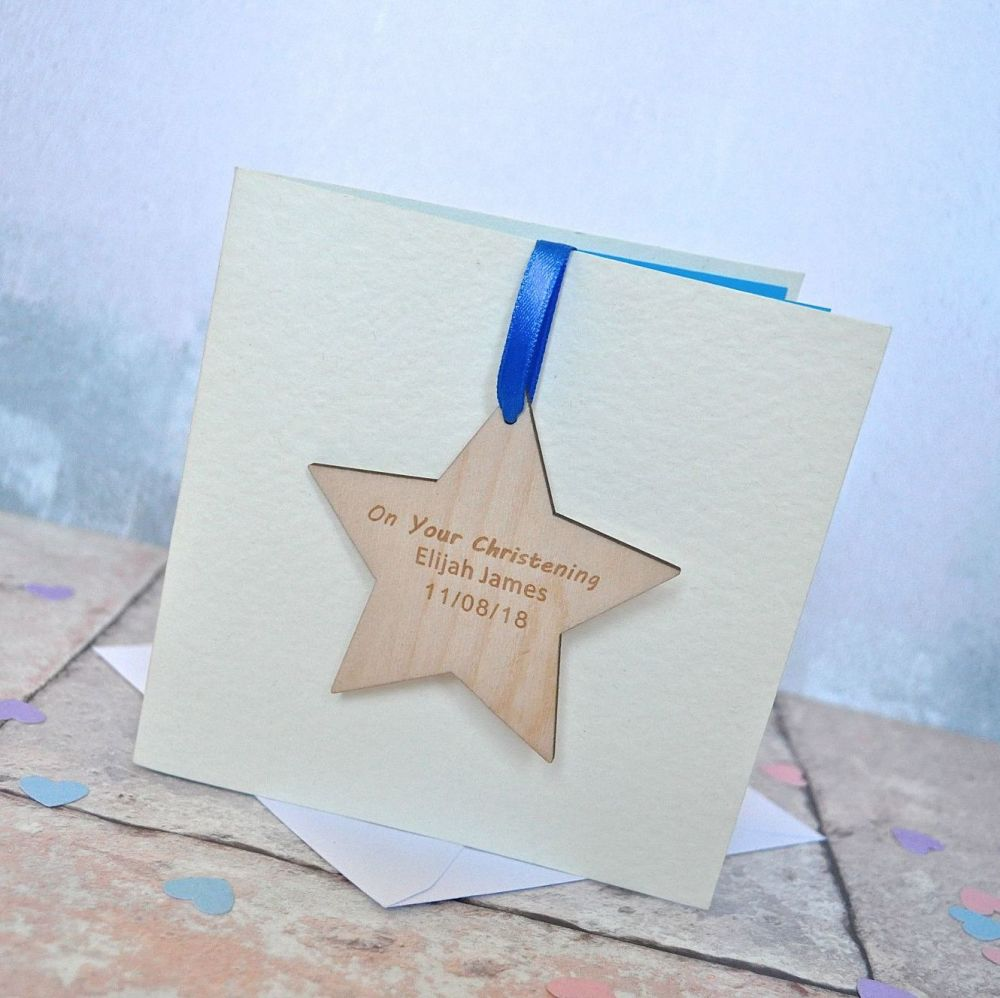 Personalised Christening Wooden Decoration Card