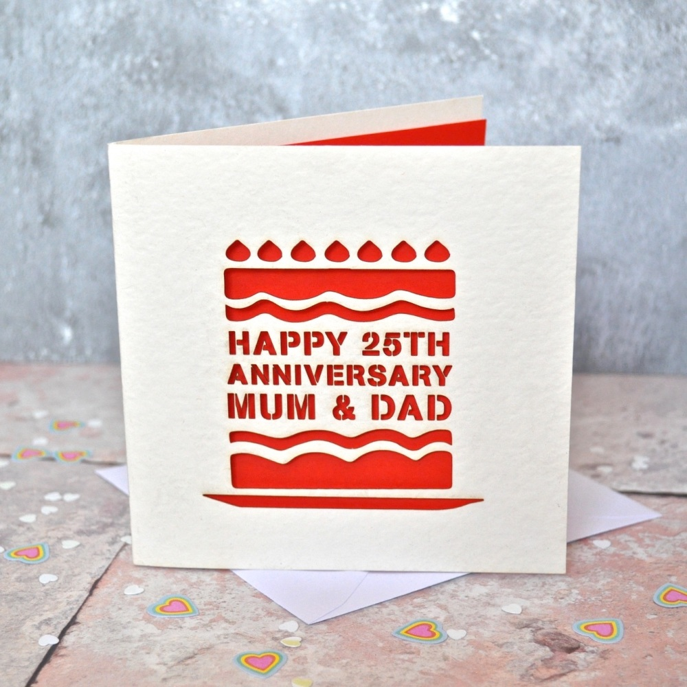 Personalised Laser Cut Anniversary Cake Card