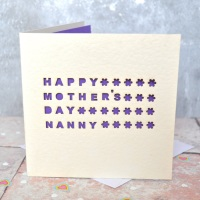 Personalised Laser Cut Nanny Mother's Day Card