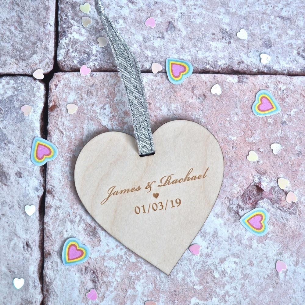 Personalised Wedding Wooden Heart
