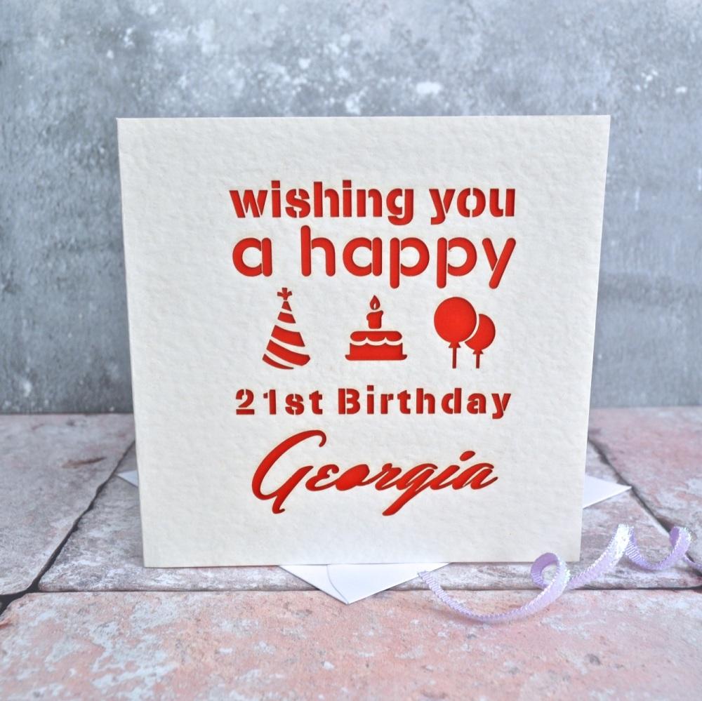 Personalised Laser Cut Happy Birthday Card