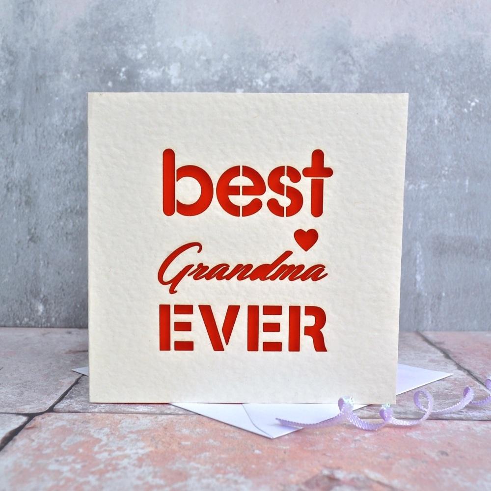 Best Grandma Ever Laser Cut Card