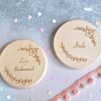 Personalised Floral Bridesmaid Compact Mirror