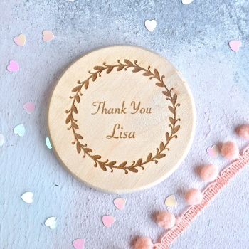 Personalised Floral Thank You Compact Mirror