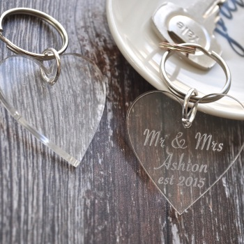 Personalised Heart Wedding Keyring
