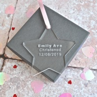 Christened Acrylic Star Decoration