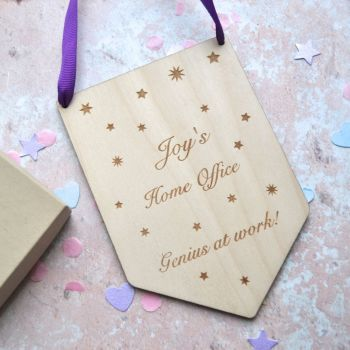 """Personalised """"Home Office"""" Wooden Flag"""