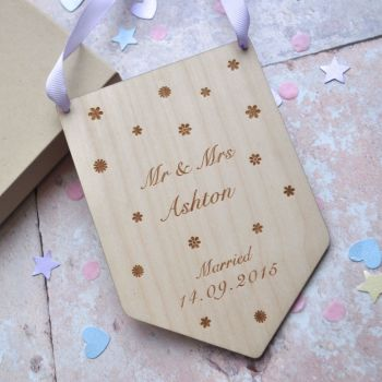 Personalised Wedding/Engagement Wooden Flag