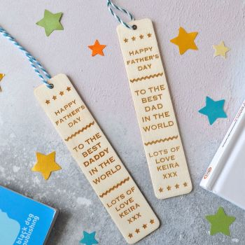 Personalised 'Grandad' Father's Day Wooden Bookmark