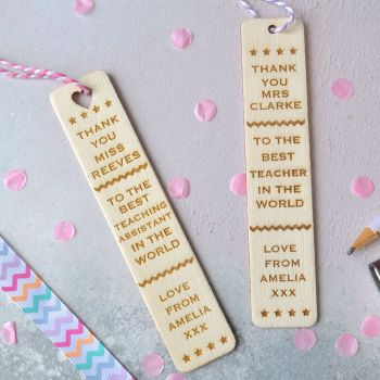 Personalised 'Thank You' Teacher Bookmark