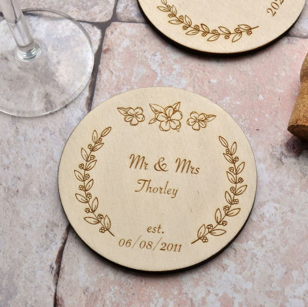 Personalised Wooden Anniversary Coaster
