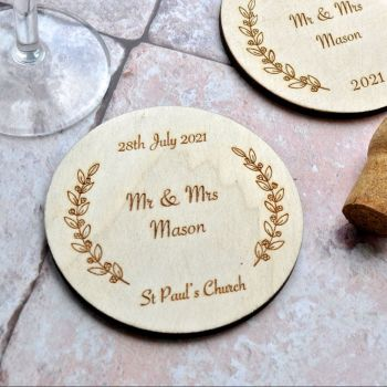 Personalised Wooden Wedding Coaster