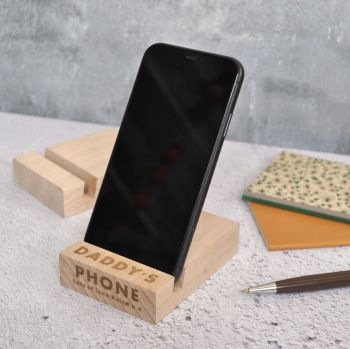 Personalised  Daddy Wooden Phone Stand