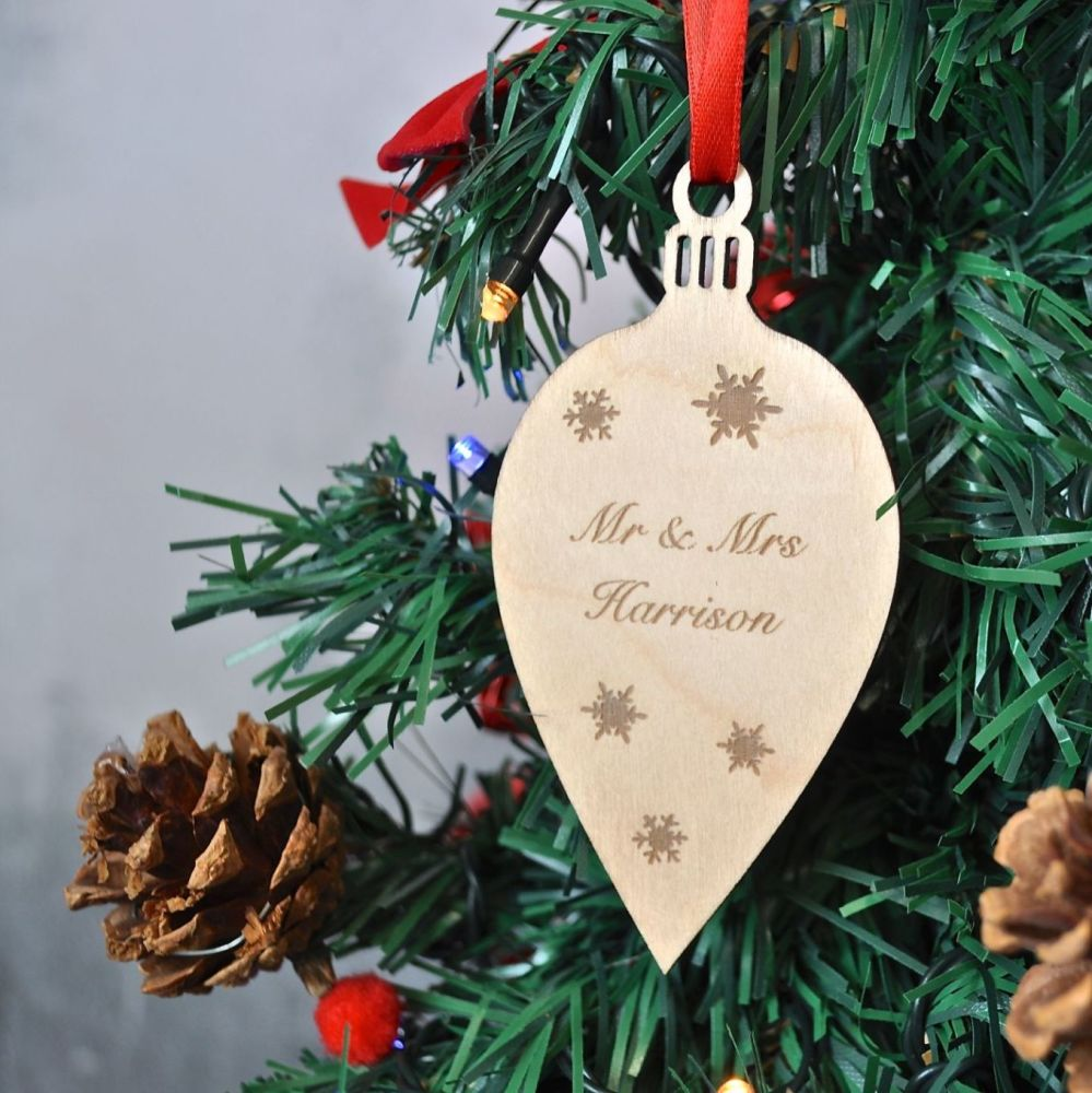 Personalised Christmas Wooden Bauble