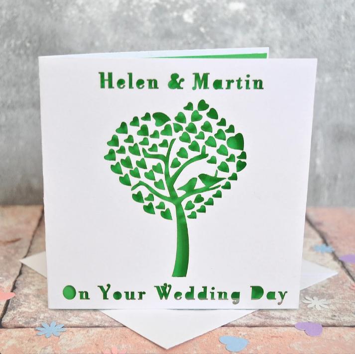 Laser Cut Engagement Tree Heart Card
