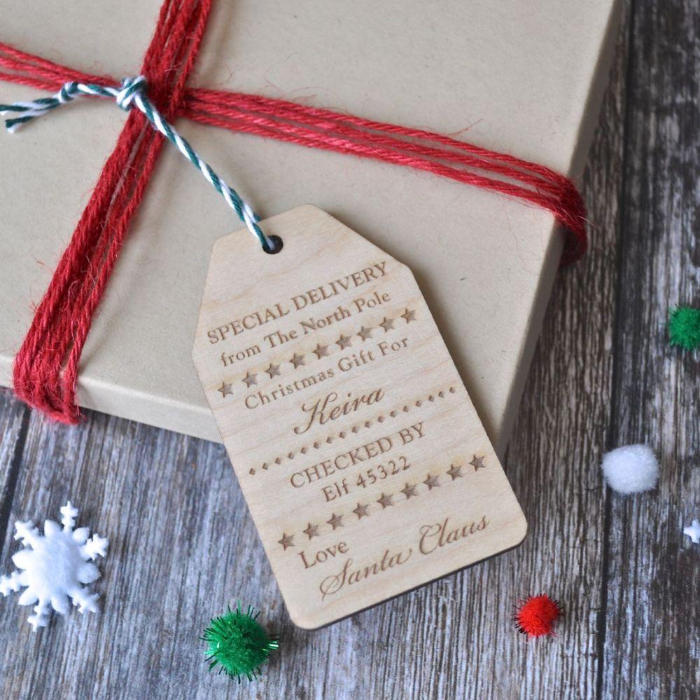 Personalised 'Santa Claus' Wooden Gift Tag