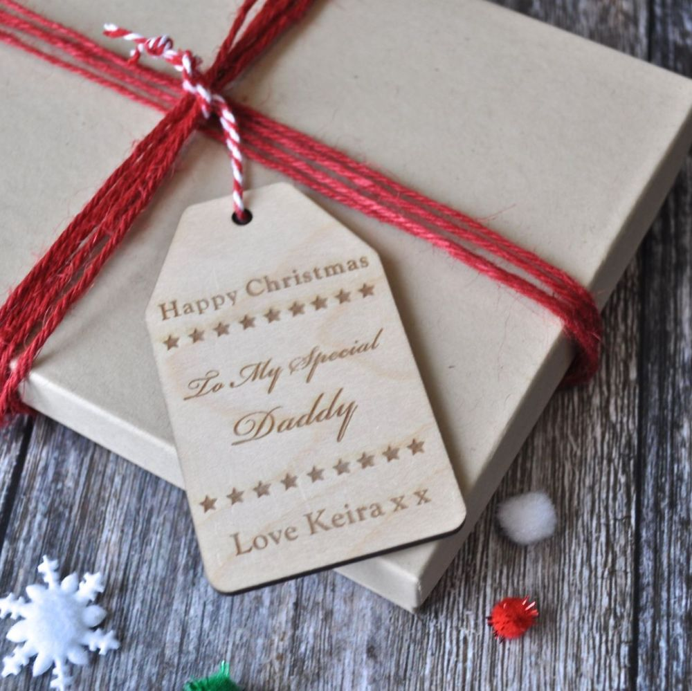 Personalised 'Happy Christmas' Wooden Gift Tag