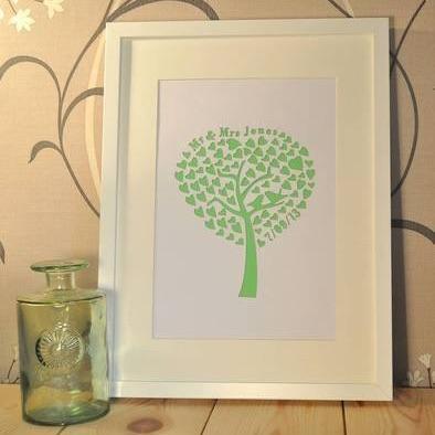 Personalised Laser Cut Wedding Tree Artwork