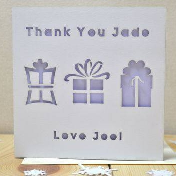 Personalised Laser Cut Thank You Present Card