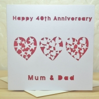 Personalised Laser Cut Anniversary Heart Card