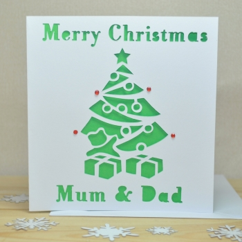 Personalised Laser Cut Christmas Tree Card