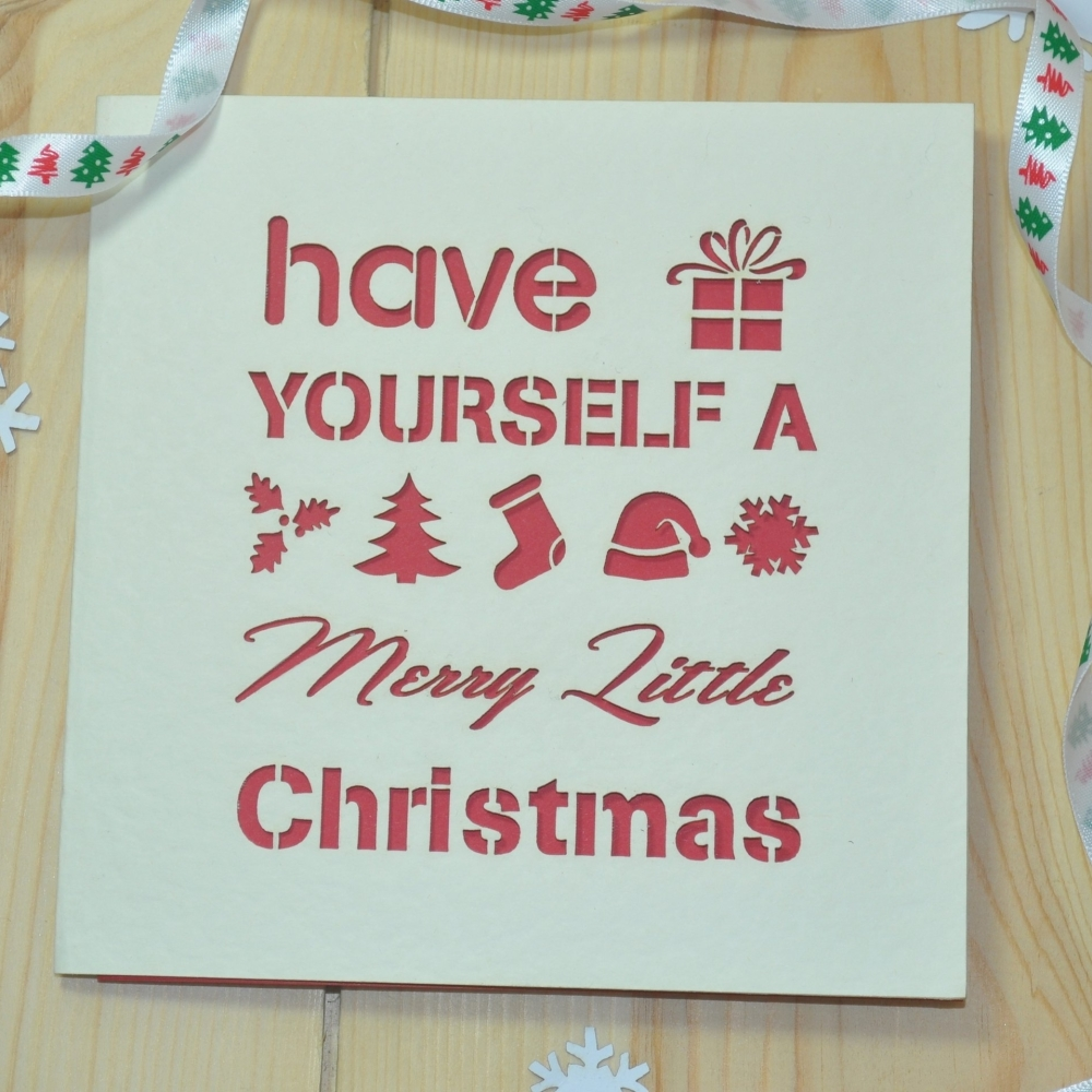 'Merry Little Christmas' Laser Cut Christmas Card